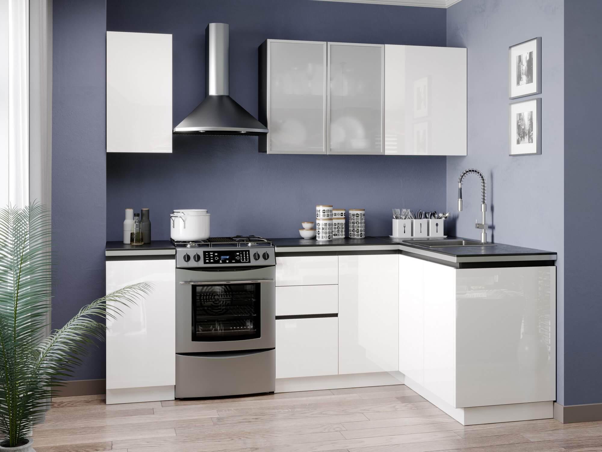 Модульная кухня Шервуд (Чёрный/Белый глянец) купить в Москве в интернет-магазине Любимый дом